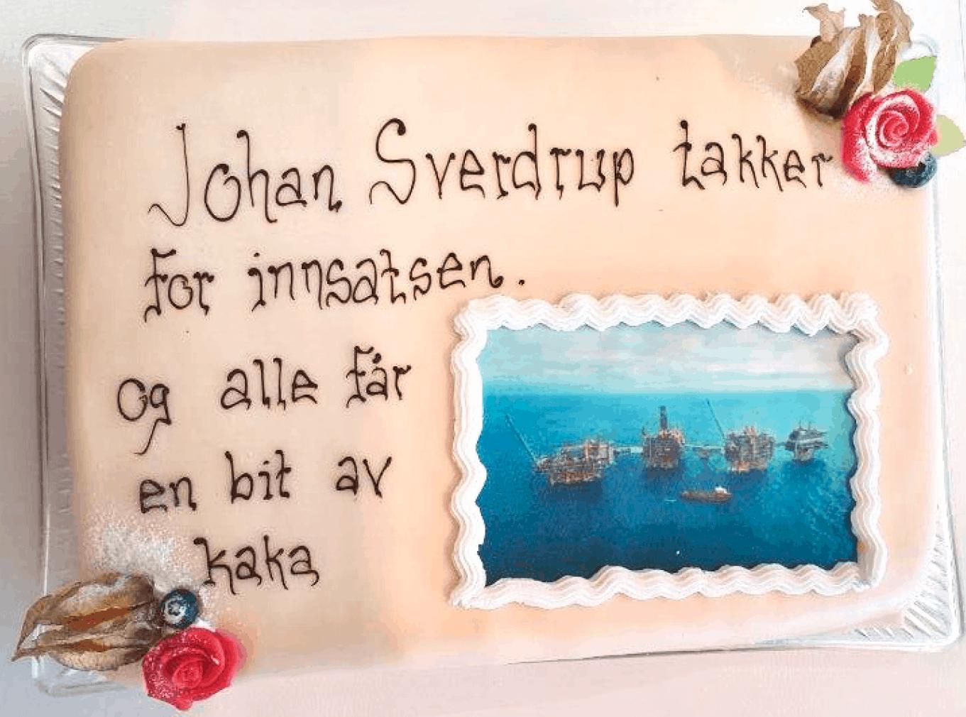 FEIRET JOHAN SVERDRUP MED KAKE